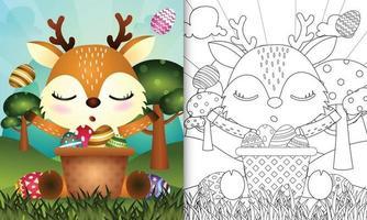 kleurboek voor kinderen als thema gelukkige paasdag met karakterillustratie van een schattig hert in het emmer-ei vector