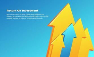 zakelijke pijl doel richting concept tot succes. rendement op investeringsrendement. toepasbaar voor promotie, omslagposter, infographic, bestemmingspagina, ui, ux, persentation, baner, sociale media geplaatst vector