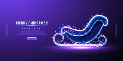 Kerstman slee, laag poly draadframe, vectorillustratie