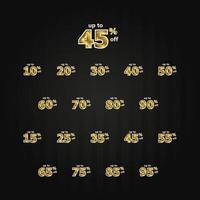 korting tot 45 korting label prijs goud instellen vector sjabloon ontwerp illustratie