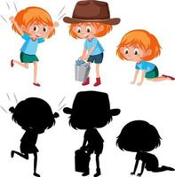 stripfiguur van een meisje dat verschillende activiteiten met silhouet doet