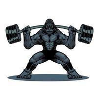 hand getekend vintage gekleurde gorilla met fitness barbell in stripfiguur. wilde aap geïsoleerd op een witte achtergrond. vectorillustratie voor t-shirtontwerp, kleding en ander gebruik