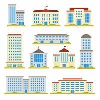 set van stad bouwen vector platte ontwerp iconen. school, bank, overheidskantoren, winkel, eigentijds kantoorcentrum en stadhuisgebouw dat op witte achtergrond wordt geïsoleerd. cartoon illustratie