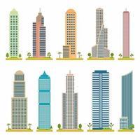 moderne platte vector torengebouwen instellen. stedelijke torens in de cartoonstijl van de stad. pictogram achtergrond conceptontwerp. stad wolkenkrabbers bouwen thema in cartoon design. platte vectorillustratie