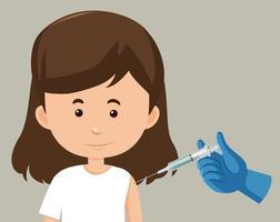 stripfiguur van een vrouw die een vaccin krijgt vector