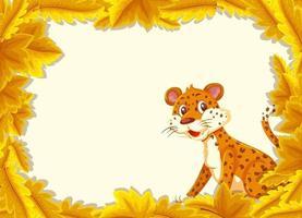 gele bladeren sjabloon voor spandoek met luipaard stripfiguur