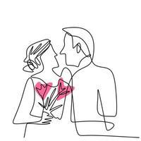 continu een lijntekening van liefdevolle paar vrouw en man in romantische pose. jonge man en vrouw zijn in geluk moment geïsoleerd op een witte achtergrond. vector illustratie minimalisme stijl