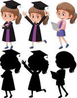 set van een meisje dat afstudeerjurk draagt in verschillende posities met zijn silhouet vector