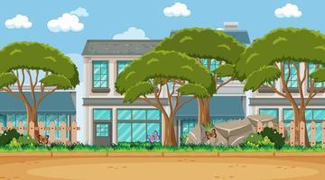 lege scène met enkele bomen op de achtergrond van veel huizen