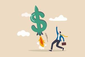verhoog uw inkomen, groei die de bedrijfsomzet of winst verhoogt, stijgend concept voor het verdienen van investeringen vector