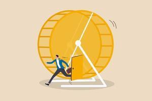 exit rat race, het breken van werkroutine ontsnappen aan teleurstellende loonstrookjes of een giftig concept voor de dagelijkse werkomgeving vector