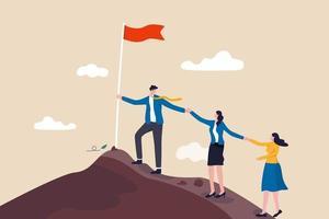 teamwerk, ondersteuning en samenwerking om het doel te bereiken, samenwerking, team helpt elkaar naar succes in het baanconcept vector