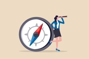 vrouwelijk leiderschap, vrouwenvisie om richting te leiden, gendergelijkheid om vrouw te omarmen in bedrijfsbeheerconcept vector