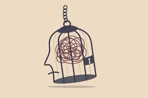 geestelijke gezondheid, gestrest en angst door werk, depressie of obsessie in het concept van het menselijk brein vector