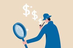 zoek naar investeringsmogelijkheid, controleer belastingbetaling, analyseer financiële gegevens of ontdek het concept voor het verdienen van geld vector