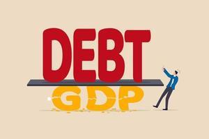 schuld aan bbp-crisis, covid-19 veroorzaakt economische recessie, faillissementsbedrijf hoog risico op schuldenzwelling concept vector