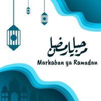 marhaban ya ramadhan banner met kalligrafie, moskee op pastelkleur geschikt voor wenskaarten, flyer, poster, omslag, web, social media post of verhalen