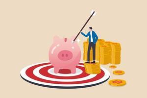 financieel doel of doel, succes in sparen en investeren of het concept van financiële onafhankelijkheid bereiken vector