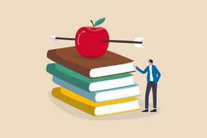 kennis, onderwijs, academisch en beursconcept, slimme leraar of professor die wachten om les te geven die zich met boogschietpijl recht op rode appel op stapel handboeken bevindt. vector