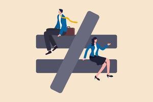 genderongelijkheid, ongelijke discriminatie van vrouwen, zoals carrière, werk of het concept van sociale rechten vector