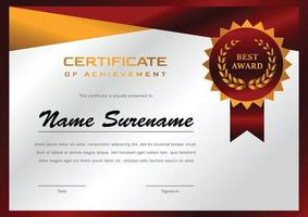 certificaat ontwerpsjabloon voor prestatie en waardering
