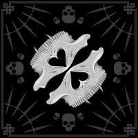 bandana-ontwerp met halve schedel en dolken vector