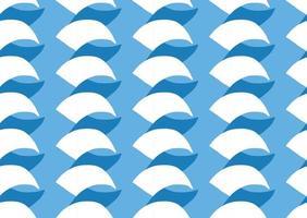 hand getrokken, blauwe, witte kleuren kromme vormen naadloze patroon vector