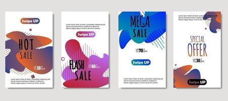 dynamische abstracte vloeibare mobiel voor verkoopbanners. verkoop sjabloonontwerp spandoek, mega-verkoop speciale aanbieding-set. ontwerp voor flyer, cadeaubon, poster aan de muur, omslagboek, banner, sociale media
