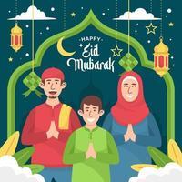 gelukkig eid mubarak-groetconcept vector