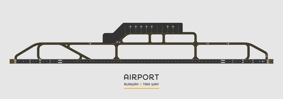 bovenaanzicht van de landingsbaan van de luchthaven en taxibaan met vliegtuig, vectorillustratie
