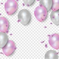 roze en witte ballonnen, vectorillustratie