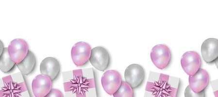 geschenkdoos, roze en witte ballonnen op witte achtergrond, naadloze patroon, vectorillustratie