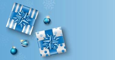 Kerstcadeaus op blauwe doos achtergrond met kopie ruimte voor tekst, Kerst poster, wenskaart, vector illustratie