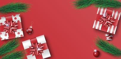 Kerstcadeaus vak op rode achtergrond met kopie ruimte voor tekst, Kerstaffiche, wenskaart, vector illustratie