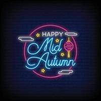 gelukkige medio herfst festival neonreclames stijl tekst vector