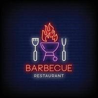 barbecue restaurant logo neonreclames stijl tekst vector