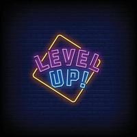 niveau omhoog neonreclamestijl tekst vector