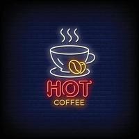 hete koffie ontwerp neonreclames stijl tekst vector