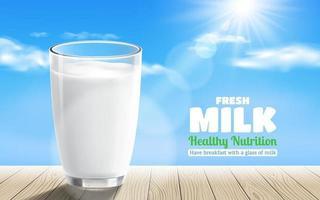 realistisch transparant glas melk op houten tafel met een blauwe hemelachtergrond
