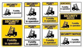 veiligheidsmededeling vorkheftrucks in bedrijf symbool teken isoleren op transparante achtergrond, vector illustratie