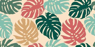 tropisch naadloos patroon met abstracte bladeren. modern ontwerp vector