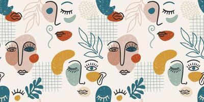 eigentijds portret. vector naadloze patroon met trendy abstracte schminken.