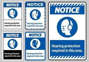 let op pbm-bord gehoorbescherming vereist in dit gebied met symbool vector