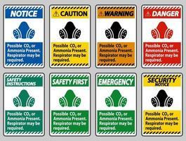 pbm teken mogelijk co2 of ammoniak aanwezig, ademhalingsmasker kan nodig zijn