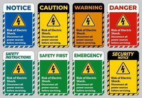 risico van elektrische schok symbool teken isoleren op witte achtergrond
