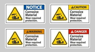 bijtende materialen, draag de vereiste bescherming vector