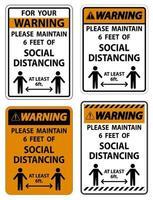 waarschuwing voor uw veiligheid handhaaf sociaal afstandsteken op witte achtergrond vector
