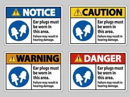 In dit gebied moeten oordopjes worden gedragen, defecten kunnen gehoorschade tot gevolg hebben vector