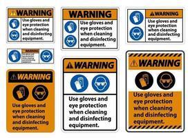 waarschuwingshandschoenen en oogbeschermingsteken op witte achtergrond