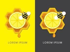 honing en citroen met bijen op honingraat vector